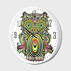 Non Ticking Wall Clock Silent with Metal Frame HD Glass Cover,Owls Home Decor,Ornate Colorful Owl with Ethnic Elements Legend Eye Feather of Universe Psychedelic Artwork,for Office,Bedroom,16inch