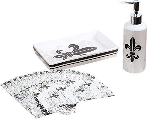 Indecor Home 20-Piece Black & White Fluer Di Lis Guest Napkin Set ()
