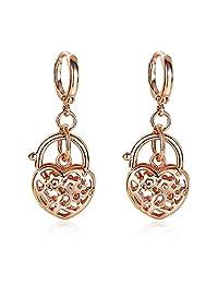 fonk_CA:: 18k Rose Gold Plated Dangle Earring Heart Fine JewelryGirl Handbag Earrings Gift Festival