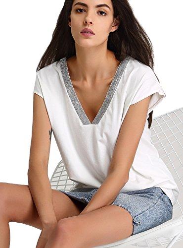 [ANNA&CHRIS Women's Sexy Deep V Neck T Shirt Plus Size Cap Sleeve Tee Tops Large White] (Model Womens Cap Sleeve T-shirt)