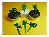 12 Cute Green Frogs Puffy Cupcake Picks Cake Candy Cookie Cake Pop Decorations