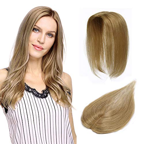 100% Remy Human Hair Silk Base Top Hairpieces Replacement Clip in Topper For Women Crown Top Piece Short 12''/12inch #27 Dark Blonde 20g