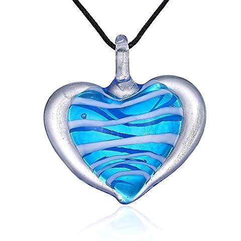Bleek2Sheek Candy Heart Murano-style Glass Pendant Necklace (Blueberry Blue) - Green Murano Glass Pendant