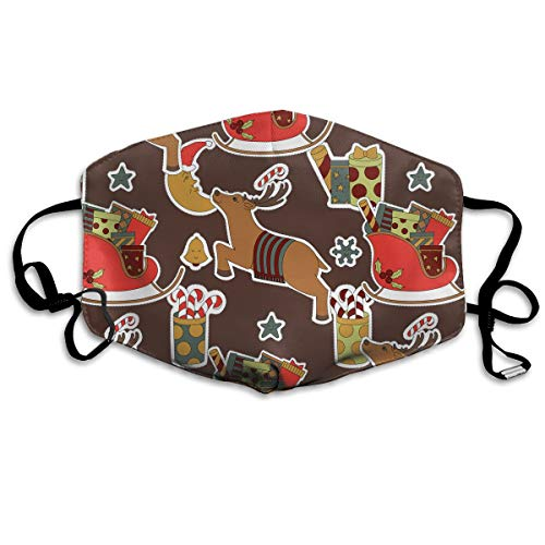 Unisex Brown Christmas Reindeer Lollipop Gift Printed Cotton Mouth-Masks Face Mask Polyester Anti-dust Masks
