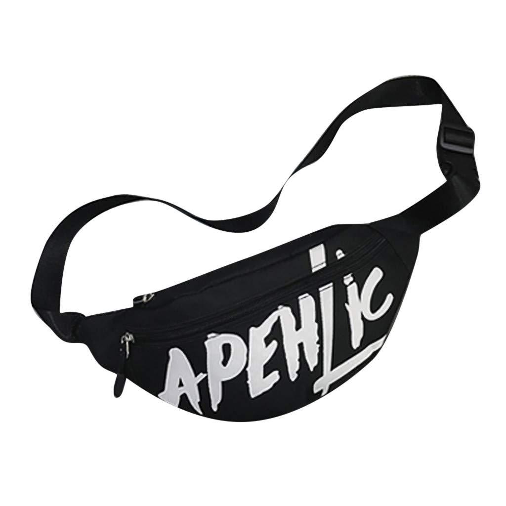 Waist Pack for Running - ✔ Hypothesis_X ☎ Travel Hiking Bag Letter Bagpack Couple Schoolbag Messenger Bags Black