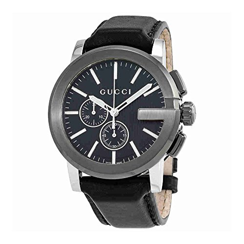 Gucci G-Chrono Black Dial Leather Mens Watch YA101205
