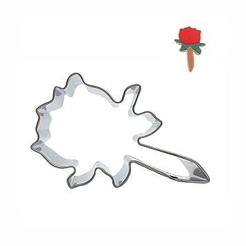 mziart rosa flor Metal molde para galletas de acero inoxidable cortador de Fondant Cake Galletas Moldes: Amazon.es: Hogar