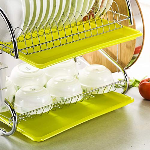 Kitchen 2 Tier Stainless Steel Dish Drying Rack Drainer Hold