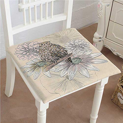 Mikihome Classic Decorative Chair pad Seat Sketch Animal on Branch with Peonies Daisies Carnations Natural Sand Brown Light Pink Cushion with Memory Filling 14''x14''x2pcs by Mikihome