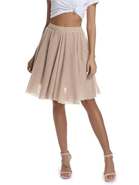 605a9719e9 OCHENTA Women s Lightweight Flare Big Swing Boho Knee Length Skirt ...