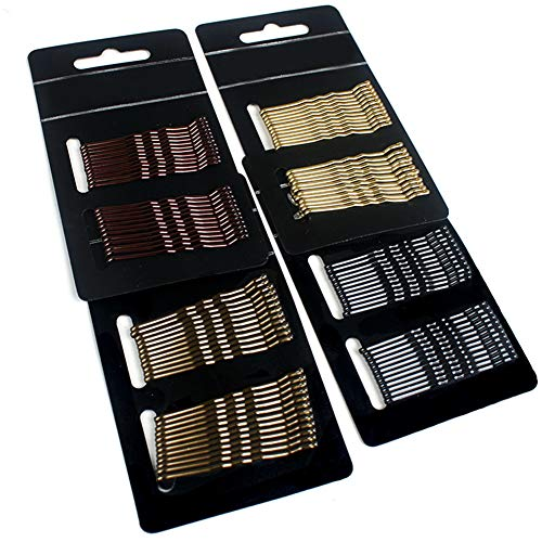 KISEER Assorted Color Bobby Pins Bulk 2 Inch Hair Pins for Girls Women, 96 Count (Gold, Black, Brown, Light Gray Gold)