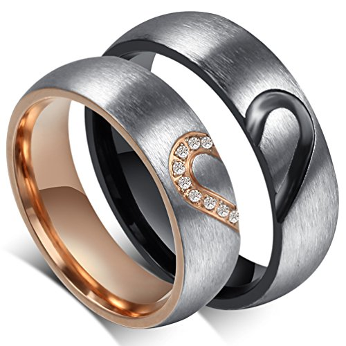 316l Stainless Steel Heart - Mens Womens Forever Love Promise Band Ring Classic 6MM 316L Stainless Steel Hearts Couples Rings for His or Hers Mate Finish Comfort It Women Size 6