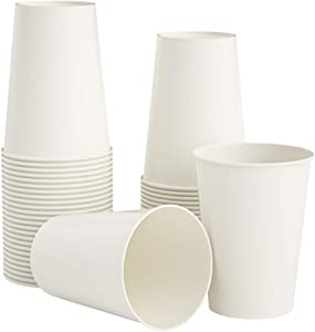 [100 Pack] 12 oz White Compostable Disposable Cups Eco-Friendly Hot or Cold Food and Condiments Containers…