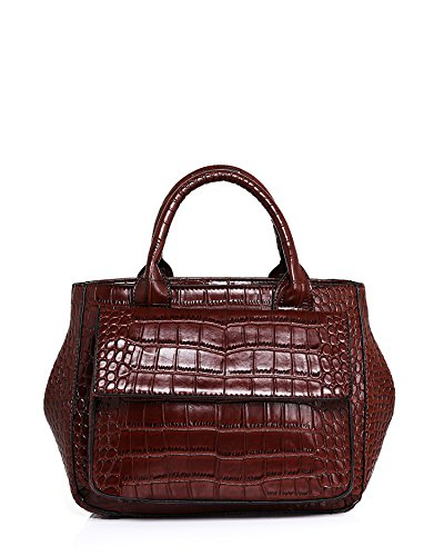 Jezzelle Croc Skin Effect Round Handbag, Brown, One Size