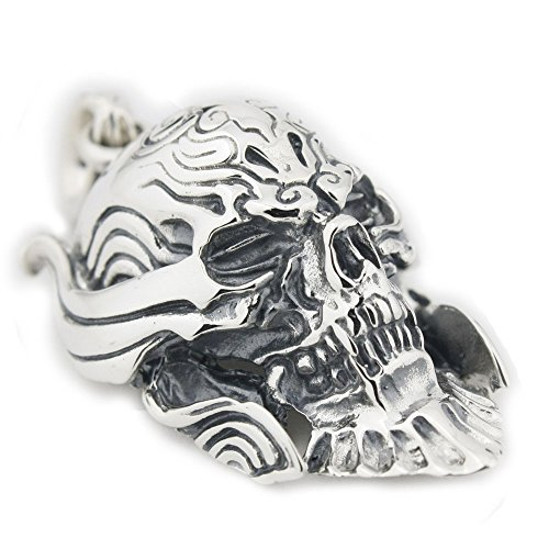 LINSION Classic Vampire Pendant Skull Jewerly 925 Sterling Silver Mens