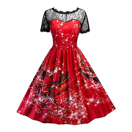 Women Swing Dress Christmas Print Lace Yoke Short Sleeve Evening Party Dress L