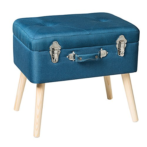 Edencomer Modern Storage Ottomans Container Bench Sturdy Foot Rest Stool Seat Smart Portable Collection Suitcase with Detachable Wooden Legs and Safety Lock for Home Travel, Blue