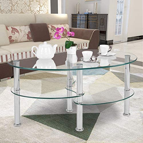 Casart Glass Coffee Table 2-Tire Modern Oval Smooth Glass Tea Table End Table for Home Office with 2 Tire Tempered Glass Boards Sturdy Chrome Plated Legs