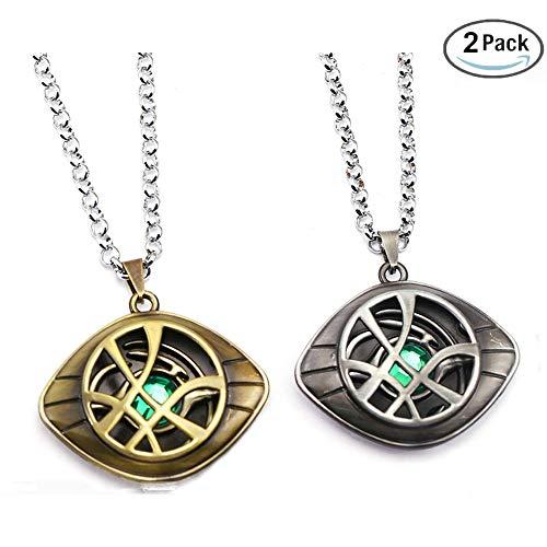 HUAWELL 2 Piece Doctor Strange Necklace Eye of Agamotto Costume Prop Stone Pendant
