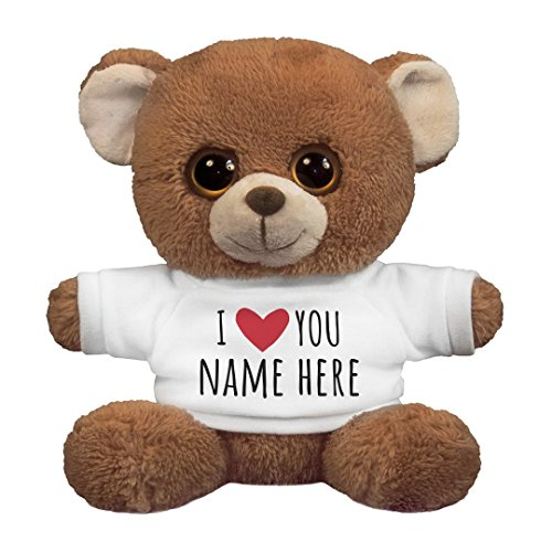 I Love You Personalized Name Gift: 7.5 Inch Oogles Brown Bear Stuffed Animal