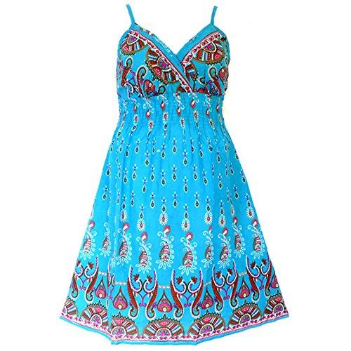 81710 B - Plus Size Padded Cotton She's Cool Beach Sun Summer Dress Blue (1X)