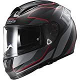 LS2 Helmets Vector Vantage Full Face Motorcycle Helmet with Sunshield (Matte Black/Red, X-Small)