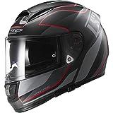 LS2 Helmets Vector Vantage Full Face Motorcycle Helmet with Sunshield (Matte Black/Red, X-Small)