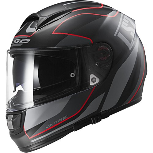 LS2 Helmets Vector Vantage Full Face Motorcycle Helmet with Sunshield (Matte Black/Red, Large)