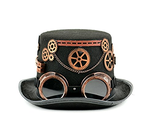 MaskIt Black Steam Punk Top Hat with Copper Goggles