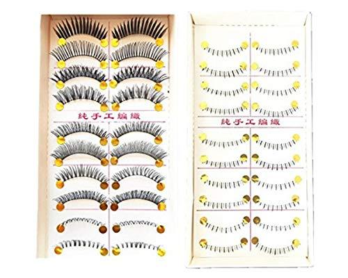 TONGKUN Various Different Design Mixed Style Black Fake Eyelash False Eyelashes 100% Handmade Thick Long Natural Soft Curly Reusable - 10 pairs Upper and 10 pairs Lower/Bottom