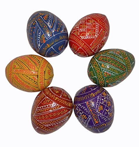 Set of 6 Hand Painted 2,5'' Wooden Ukrainian Geometry ornament Easter Eggs (Pysanky) Gift