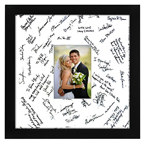 14x14 Black Wedding Picture Frame - Matted to Fit Pictures 5x7 Inches or 14x14 Without Mat - Made with Glass