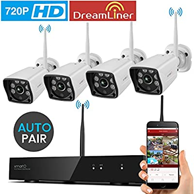 xmartO WVS1044 4 Channel 720p HD Wireless Security Camera System with 4x 720p HD Weatherproof Day Night Wireless IP Cameras (Auto-Pair, NVR Built-in Router) by xmartO