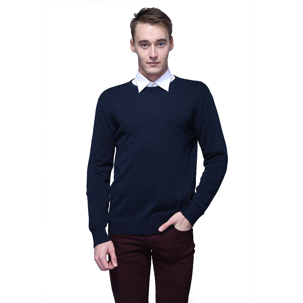 FASHIONMIA Mens Casual Solid Slim Fit Sweater Pullover Dark Blue L by FASHIONMIA (Image #2)
