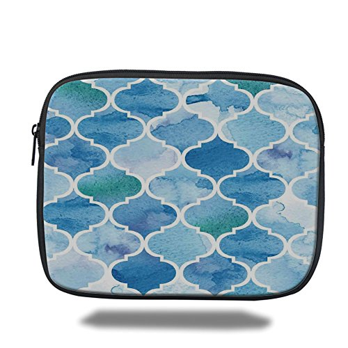 (Laptop Sleeve Case,Moroccan,Curvy Geometric Damask Patterns in Watercolor Effect Creative Timeless Home Art,Blue White,iPad Bag)