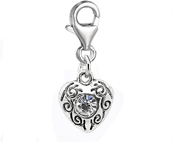 Silver Dangle Charm with Pink Rhinestone Clip-On Pendant Charm Jewelry with Lobster Clasp