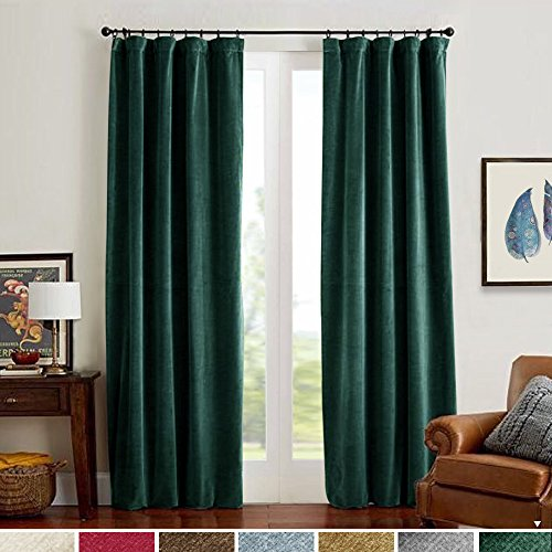 (Velvet Curtain Panels Green Room Darkening Window Super Soft Luxury Drapes for Bedroom Thermal Insulated Rod Pocket Curtain for Living Room 2 Panels 108)
