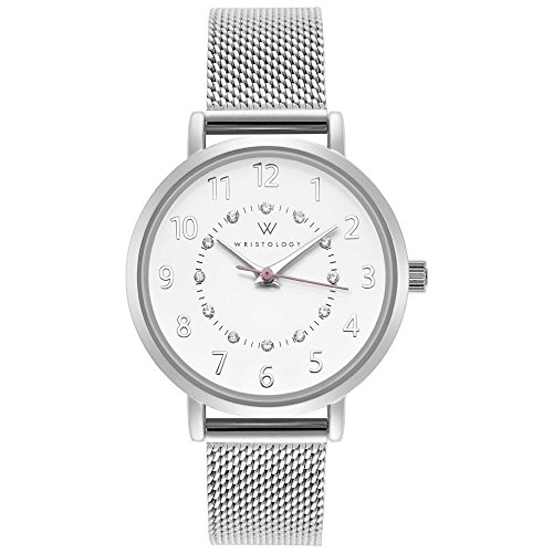 WRISTOLOGY Charlotte Petite Womens Watch Silver Numbers Metal Mesh Ladies Changeable Strap Band