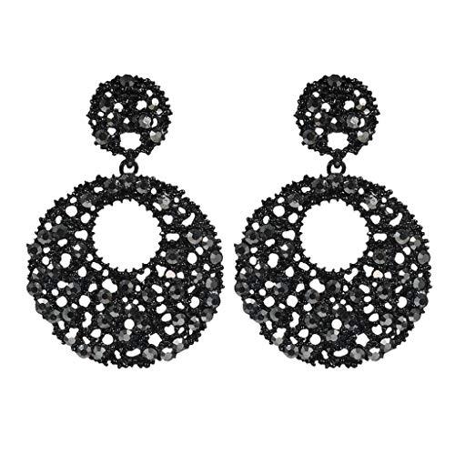 Fashion Flower Rhinestone Ring (Peigen 1 pair Women Lady Flower Rhinestone Earrings,Fashion Elegant Retro High Black Exaggerated Circle With Diamonds Ladies Earring)