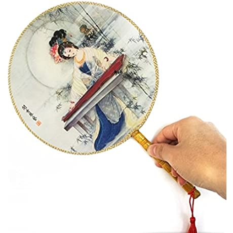 Colorful 100Pcs Lot Retro Vintage With Delicate Packaging Ancient Lady Printing Palace Round Hand Fan Decorations