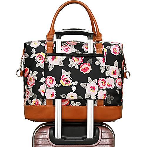 Women Ladies Weekender Carry-on Tote Bag Overnight Duffel in Trolley Handle (Floral Black)