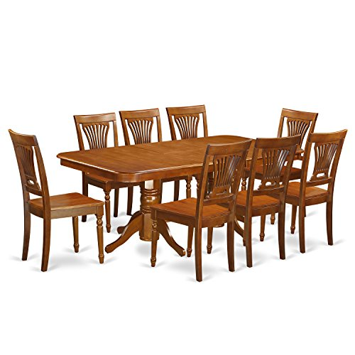 East West Furniture NAPL9-SBR-W 9-Piece Formal Dining Table Set