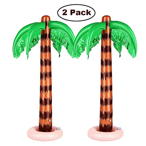 Snailmon Inflatable Palm Tree Decorations 35 Inches, Pack of 2 Jumbo Coconut Trees Beach Backdrop Favor for Tropical Hawaiian Luau Party Decoration Accessory -
