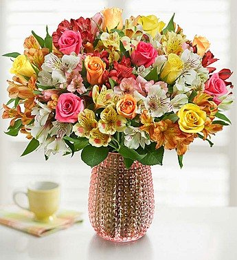 Assorted Roses & Peruvian Lilies Double Bouquet with Pink Vase by 1-800 Flowers by 1-800-Flowers