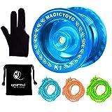 MAGICYOYO Responsive YoYo K1-Plus Yoyo Sack + 3 Strings Yo-Yo Glove Gift (Crystal Blue)