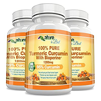 Nutritional Supplements With Bioperine - Turmeric Curcumin 100% All Natural Veggie Capsules - Support The Immune System/Boost Energy Levels - Organic Dietary Complex Energy Booster