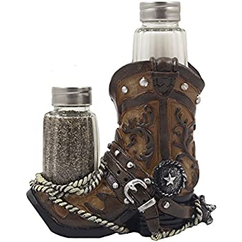 Fancy Cowboy Boot Salt and Pepper Shaker Set with Decorative Display Holder Figurine Featuring Spur & Texas Star for Country Western Kitchen Decor and Table Centerpiece Decorations for Bars or Restaurants As Gifts for Cowboys