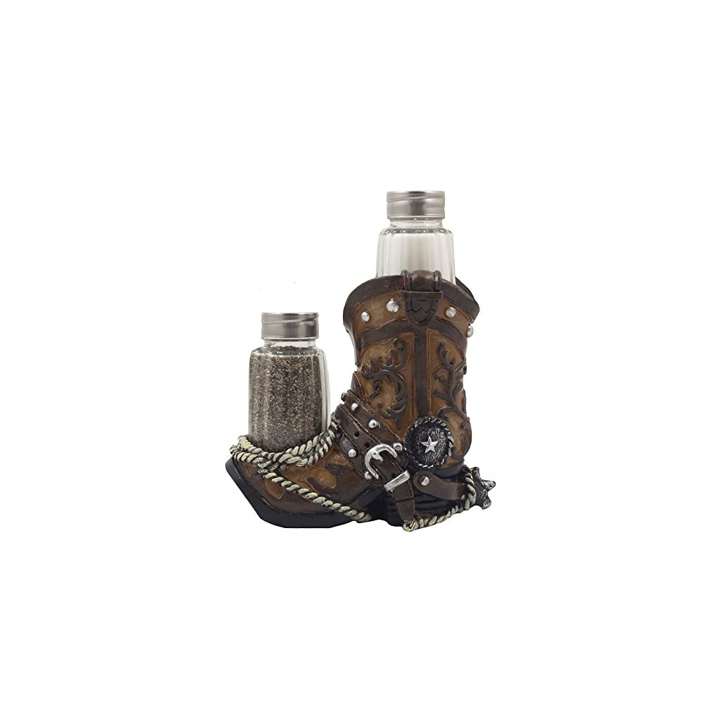 Fancy Cowboy Boot Salt and Pepper Shaker Set or Decorative Display Stand Figurine with Spur & Texas Star for Country Western Kitchen Decor and Table Centerpiece Decorations As Gifts for Cowboys
