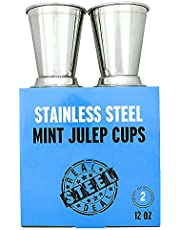Mint Julep Cups: Stainless Steel Kentucky Derby Glasses, Set of 2 OR Set of 4, Metal 12 oz Cocktail Glasses, Derby Party Supplies