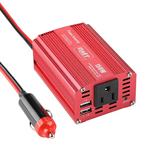 Orion Motor Tech 150W Portable Car Power Inverter DC 12V to 110V AC Converter with 3.1A Dual USB Charger Ports and 5-15P Outlet, Multi-Protection Charging, Aluminium Shell, Cigarette Lighter Adapter by OrionMotorTech